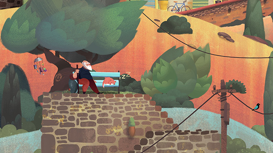 The vibrant, pastel-inspired art fits the story perfectly in Old Man's Journey.