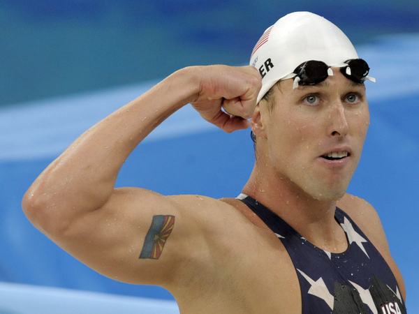 Keller reacts after a men's 4x200-meter freestyle relay heat during the swimming competitions at the 2008 Beijing Olympics.