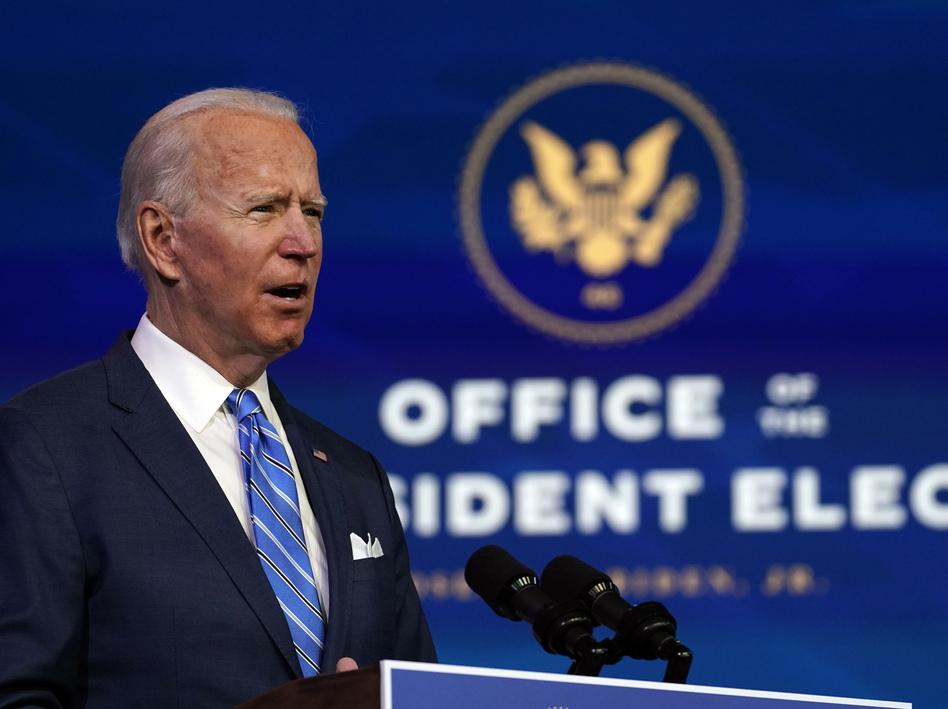 President-elect Joe Biden speaks about his COVID-19 relief plan Thursday evening in Wilmington, Del. (Matt Slocum/AP)