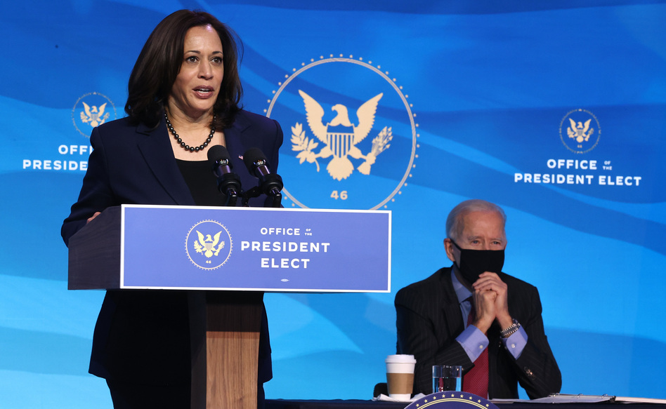 Vice President-elect Kamala Harris delivers remarks on Jan. 8 as President-elect Joe Biden looks on. The two are set to be inaugurated Wednesday at the U.S. Capitol. (Chip Somodevilla/Getty Images)