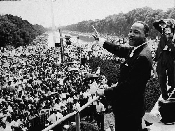 Martin Luther King Jr. addresses the crowd at the March On Washington D.C., on Aug. 28, 1963.
