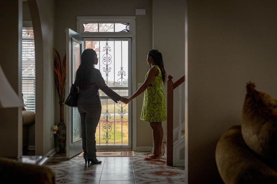 Sandra's 17-year-old daughter, Lindsey, has autism. Lindsey thrives on routine, and got special help at school until the coronavirus pandemic cut her off from the trained teachers and therapists she'd come to rely on. (Audra Melton for NPR)
