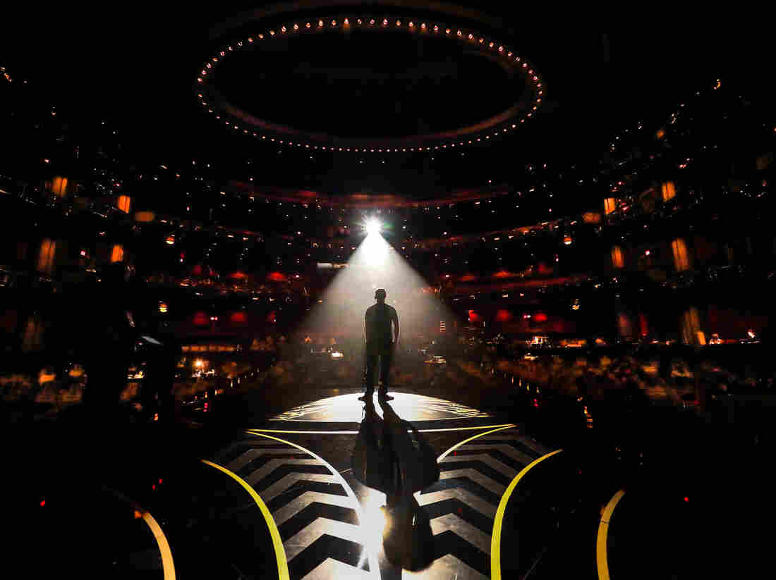 HOLLYWOOD, CA - FEBRUARY 27: A man is seen in silhouette onstage during rehearsals for the 88th Annual Academy Awards at Dolby Theatre on February 27, 2016 in Hollywood, California. (Photo by Christopher Polk/Getty Images)