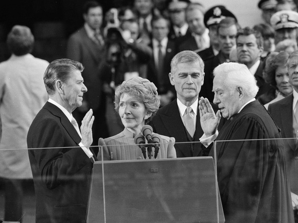 Chief Justice Warren Burger administers the oath of office to Ronald Reagan at the Capitol on Jan. 20, 1981.