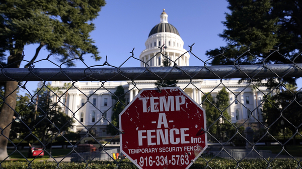 A temporary 6-foot-high chain-link fence now surrounds California