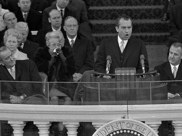 President Richard Nixon gives his inaugural address on Jan. 20, 1969.