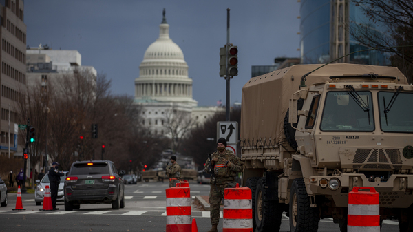 One of the many security checkpoints in Washington, D.C., ahead of Wednesday