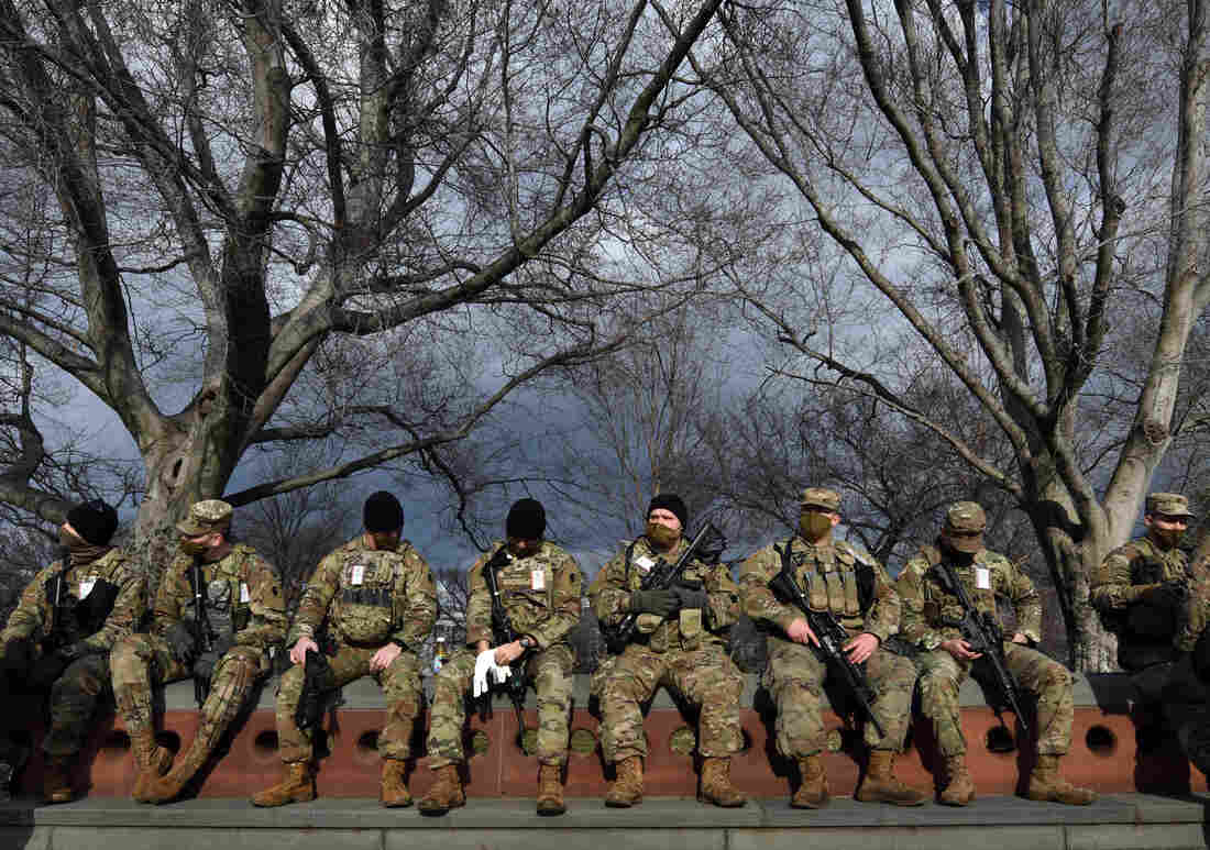 National Guard troops provide security at the U.S. Capitol for the upcoming inauguration for President-elect Joe Biden amid threats by extremist supporters of Donald Trump in Washington DC on January 17, 2021. There were threats to storm capitols in all 50 states but the day remained quiet.