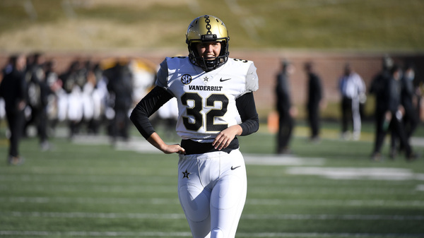 Vanderbilt kicker Sarah Fuller, pictured before a game against Missouri on Nov. 28, will be featured in a prime-time program celebrating the inauguration of Joe Biden and Kamala Harris on Wednesday.