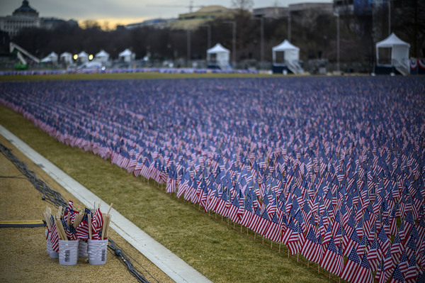 """Thousands of flags creating a """"Field of Flags"""" are seen on the National Mall."""