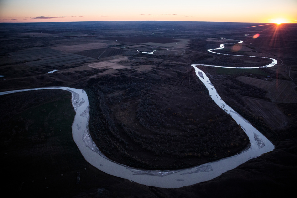 The Keystone XL pipeline was set to have passed near the White River in South Dakota. President Biden plans to block the controversial pipeline in one of his first acts of office. (Andrew Burton/Getty Images)