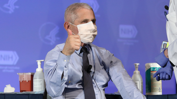 U.S. infectious disease expert Dr. Anthony Fauci informed the WHO on Thursday that the U.S. will not be leaving the organization. Fauci is seen here last month, receiving the Moderna coronavirus vaccine in Washington.