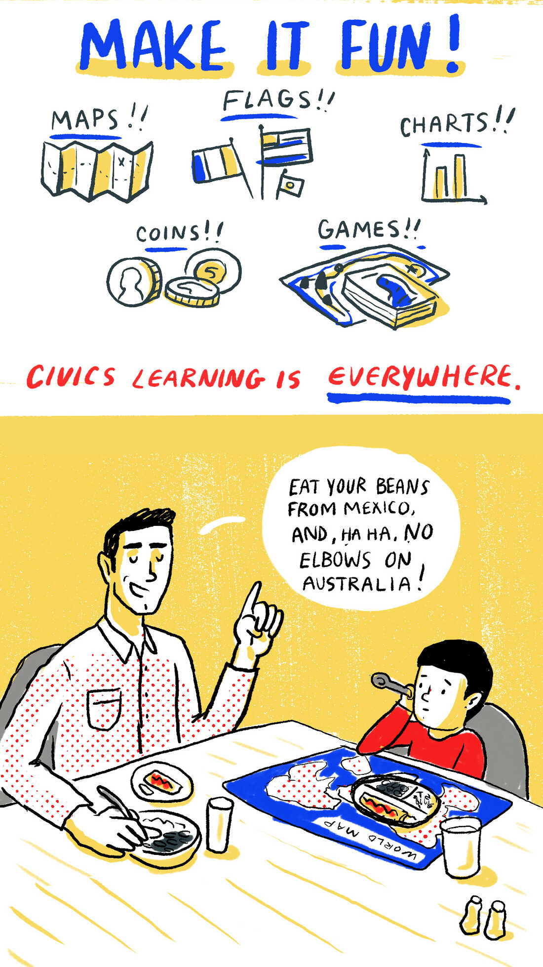 Make it fun! Civics learning is everywhere.