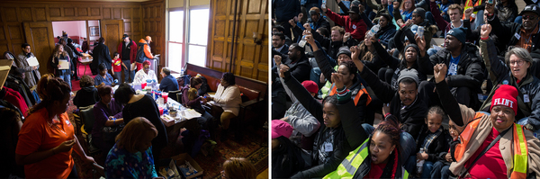 When Flint, Mich., switched its water supply in 2014, residents of the majority-black city where 40% of people live in poverty started complaining about the quality of the water. City and state officials denied that there was a serious problem for months. Residents (left) gather for lead poisoning testing in 2016. Protesters (right) take to the steps of the Michigan State Capitol in 2018.