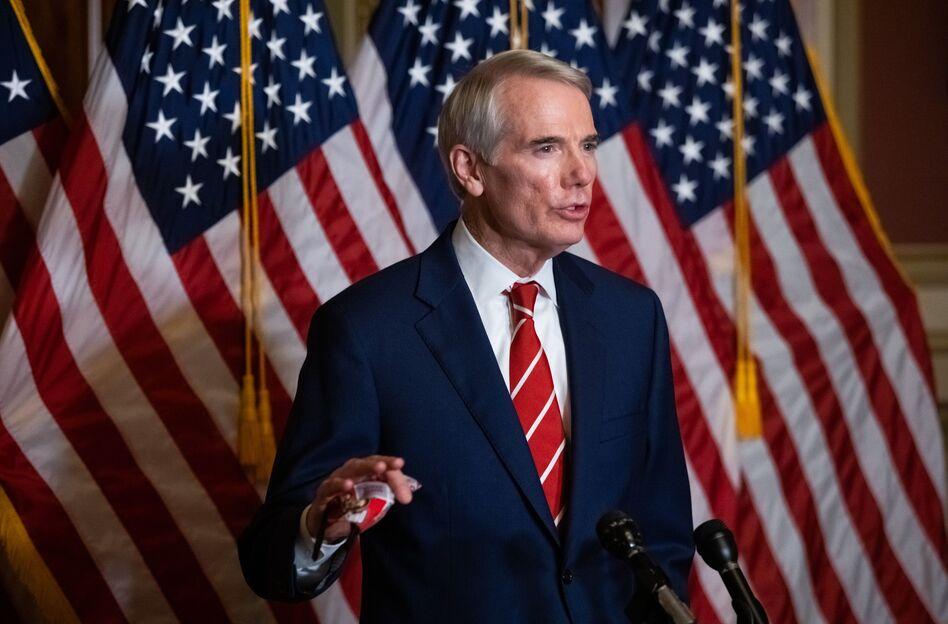 Sen. Rob Portman, R-Ohio, seen here in an October press conference, has announced he won't run for reelection in 2022, citing hyper-partisanship in Congress. (Graeme Jennings/Pool/AFP via Getty Images)