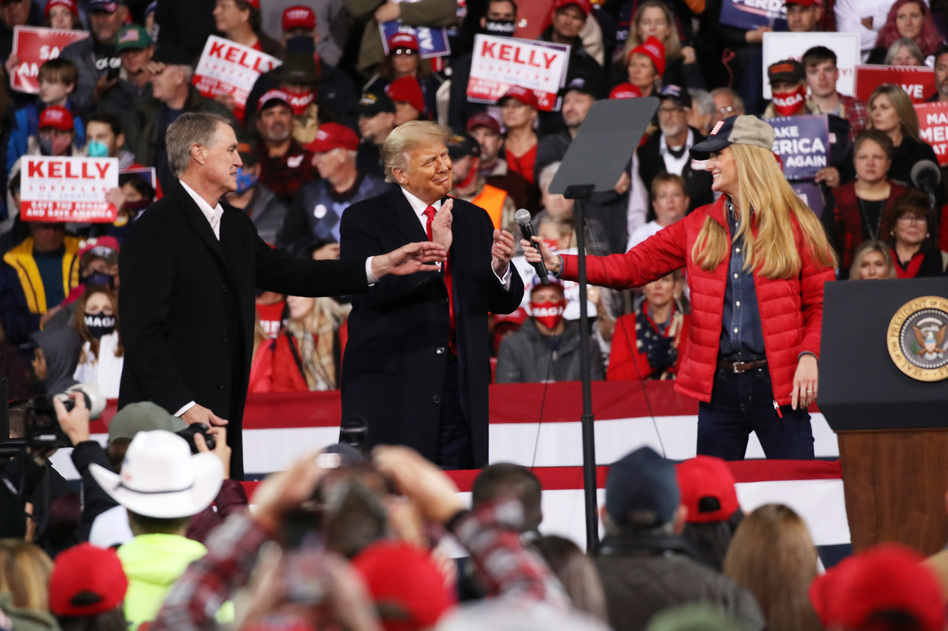 President Donald Trump attends a rally for Sens. David Perdue and Kelly Loeffler on Dec. 5 in Valdosta, Ga. Both GOP senators ultimately lost their runoff elections this month, handing control of the Senate to Democrats. (Spencer Platt/Getty Images)