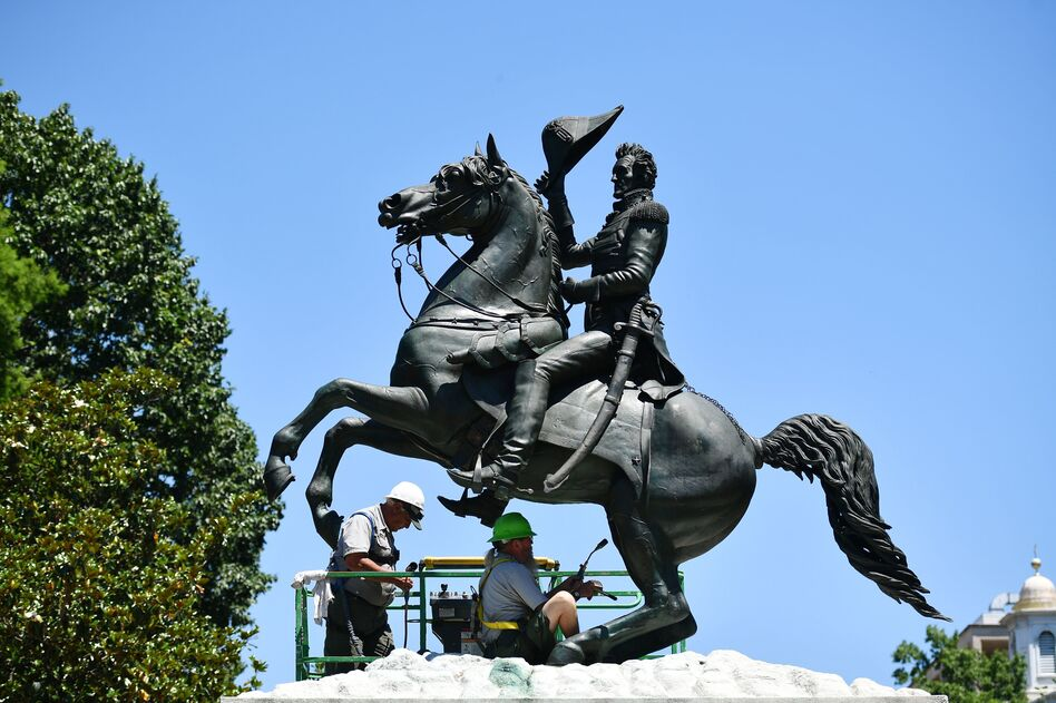 A statue of President Andrew Jackson in Lafayette Square near the White House in June. (Mandel Ngan/AFP via Getty Images)