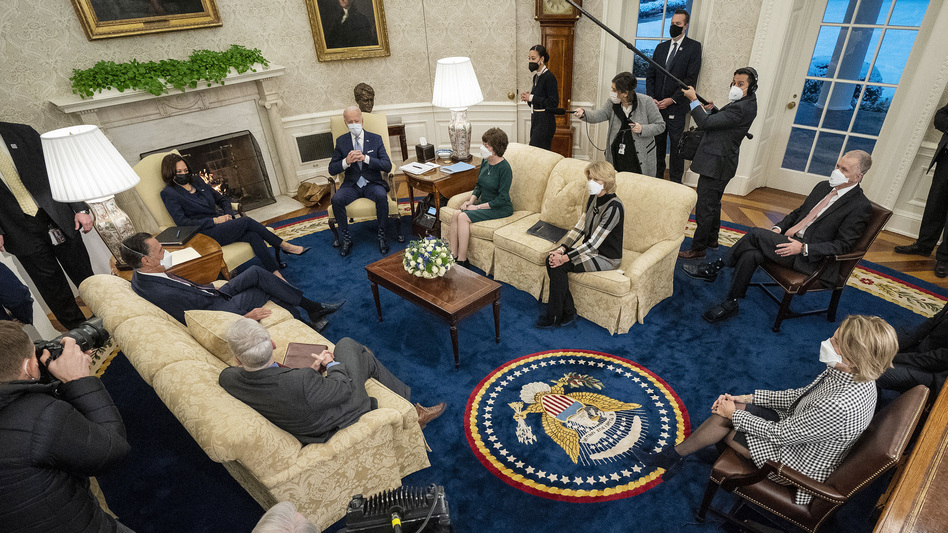 President Biden and Vice President Harris meet Monday evening in the Oval Office with 10 Republican senators, including Mitt Romney of Utah, Susan Collins of Maine and Lisa Murkowski of Alaska, to discuss COVID-19 relief proposals. (Doug Mills/Pool/Getty Images)