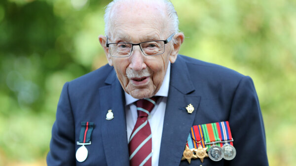 Capt. Sir Tom Moore poses in September while marking the launch of his memoir, Tomorrow Will Be a Good Day, in Milton Keynes, England.