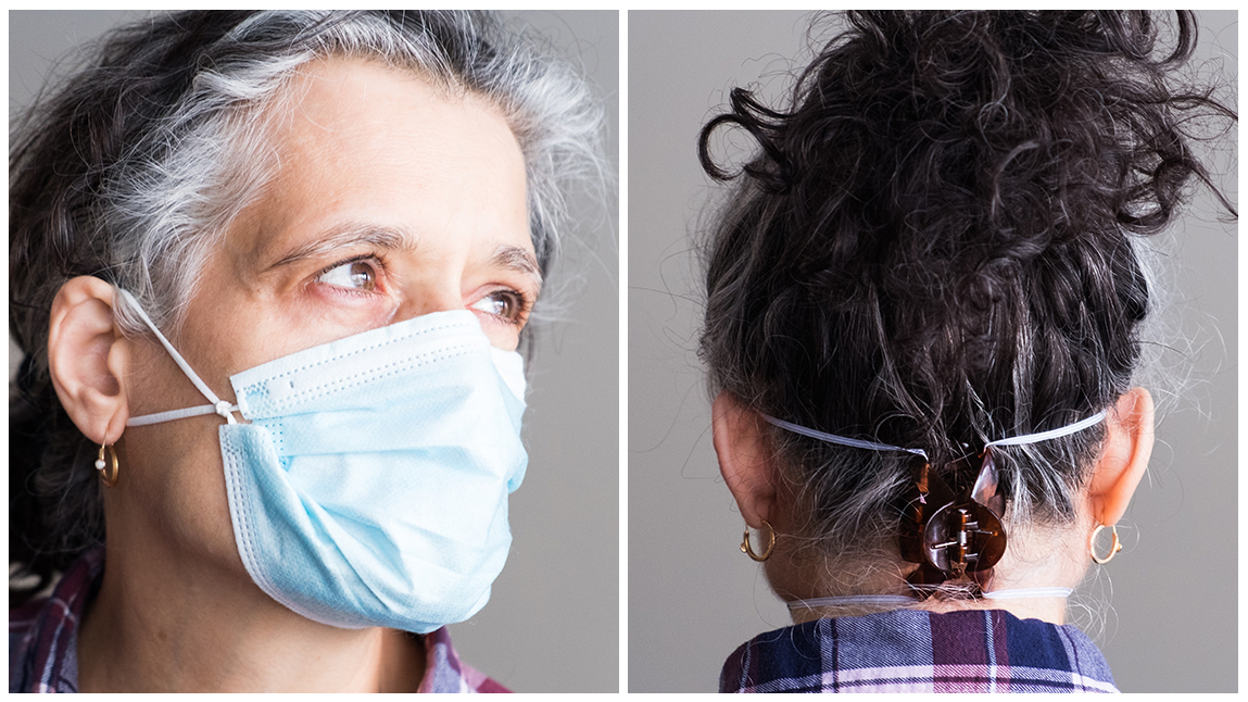 Tie the ear loops close to the edges of the mask and tuck in the side pleats to minimizes gaps (left). (Right), Use a hairclip to hold the ear loops tightly at the back of the head to achieve a tighter seal. (Michele Abercrombie/NPR)