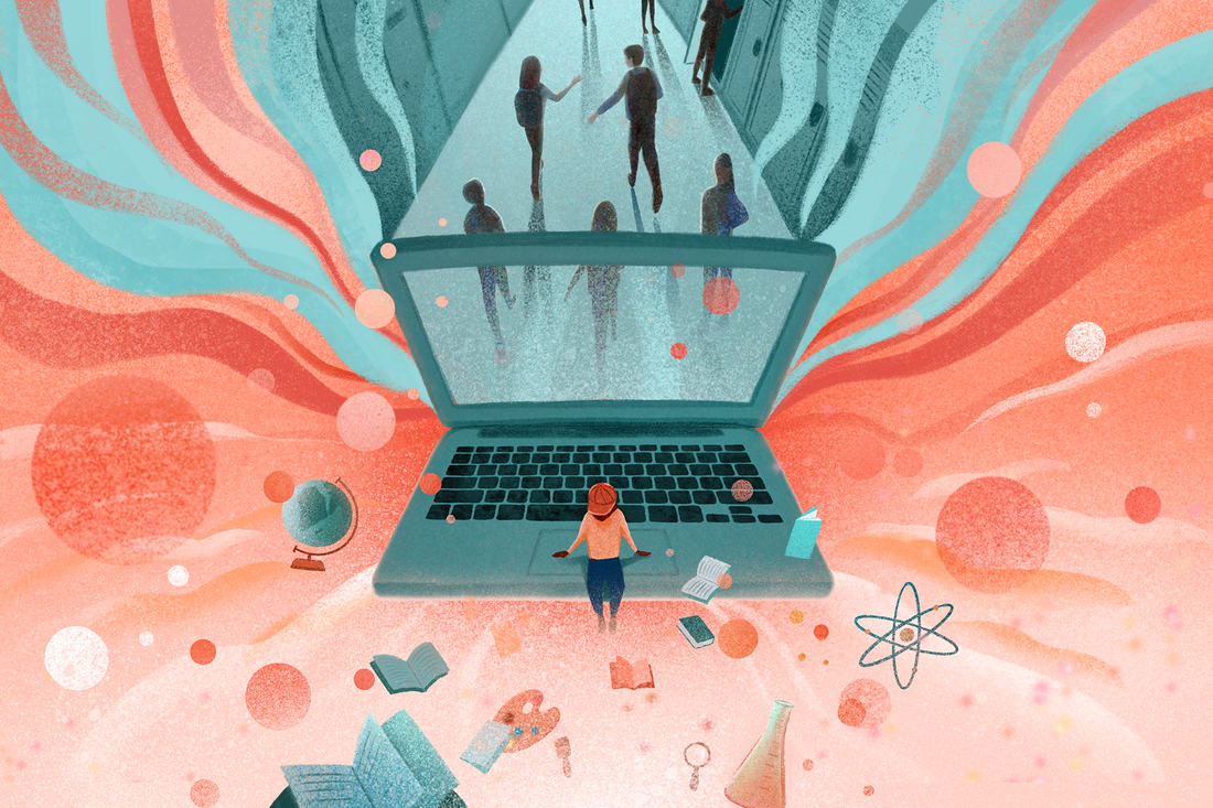 Illustration of a student sitting on the edge of a laptop with darkness behind and lightness ahead.