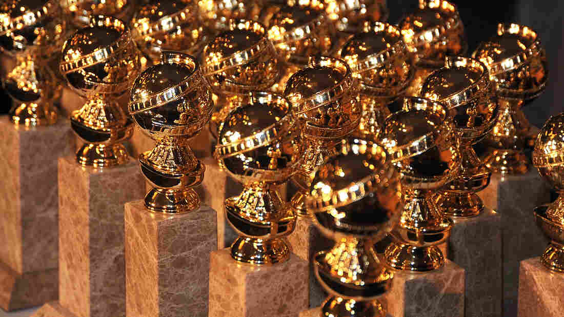 Golden Globe statuettes are on display during an unveiling by the Hollywood Foreign Press Association.