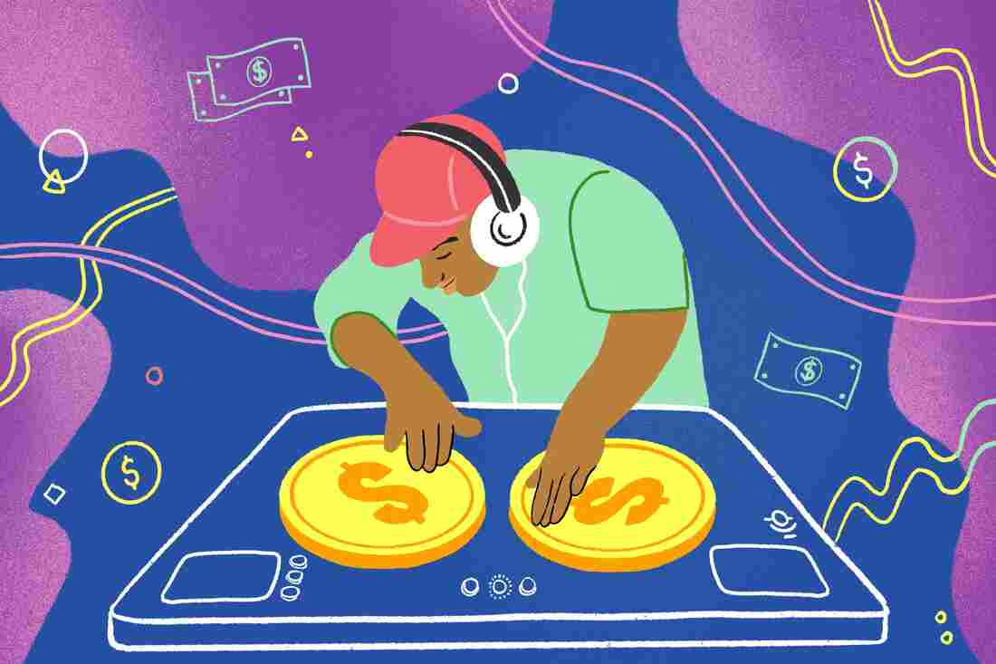 Man DJ spins records with money symbols.