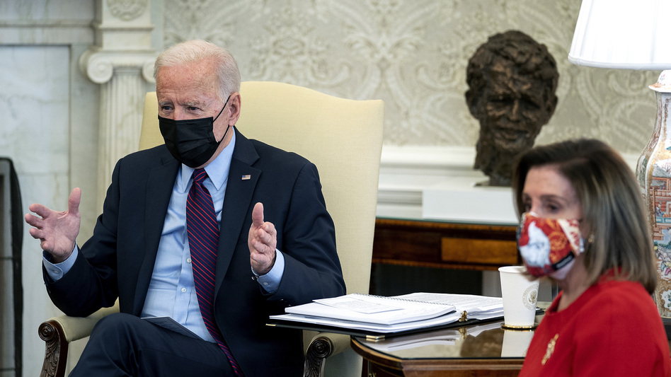 President Biden meets with House Democratic leaders, including Speaker Nancy Pelosi, in the Oval Office on Friday to discuss coronavirus relief legislation. (Stefani Reynolds/Pool/Getty Images)