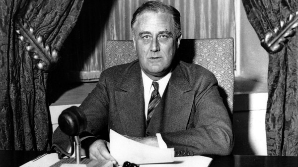 "This photo was taken moments before U.S. President Franklin D. Roosevelt began his historic ""Fireside Chat"" to the American people on March 12, 1933. President Biden is reviving the practice, used by many modern presidents but ditched by Trump, of directly addressing the public through a weekly address."
