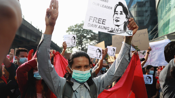 Thousands of people rallied against the military takeover in Yangon, Myanmar