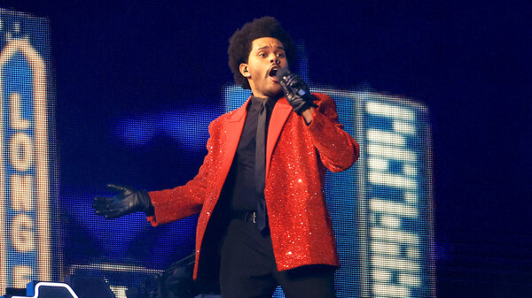 The Weeknd performs at Super Bowl LVI