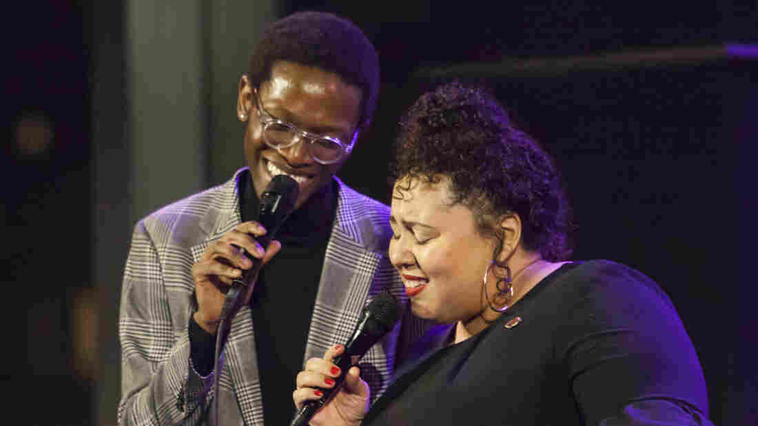 Vuyo Sotashe (L) and Brianna Thomas (R) perform at Jazz at Lincoln Center.