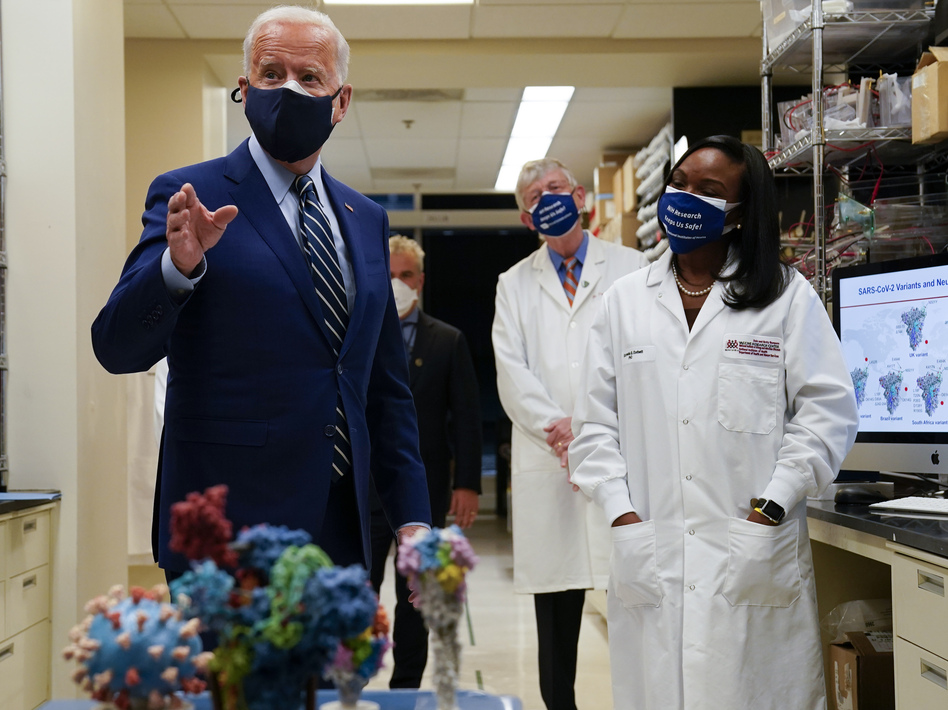 During remarks at the National Institutes of Health, President Joe Biden said his administration has secured enough Covid-19 vaccines to ensure the nation is on track to vaccinate 300 million Americans by mid-July. (Evan Vucci/AP)