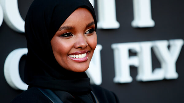 Halima Aden attends the premiere of Netflix's Travis Scott: Look Mom I Can Fly at Barker Hangar on Aug. 27, 2019, in Santa Monica, Calif.