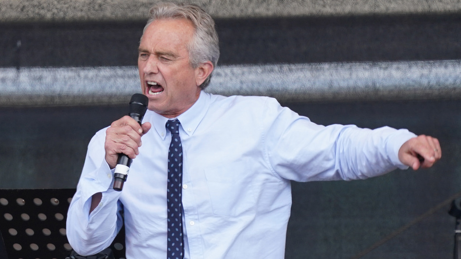 Instagram has blocked the account of Robert F. Kennedy Jr., saying he used it to spread misinformation about vaccines. He's seen here last summer, speaking to a crowd in Berlin, at an event that highlighted coronavirus skepticism and conspiracy theories. (Sean Gallup/Getty Images)