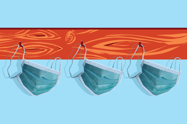 Illustration of face protective masks hanging on a coat rack.