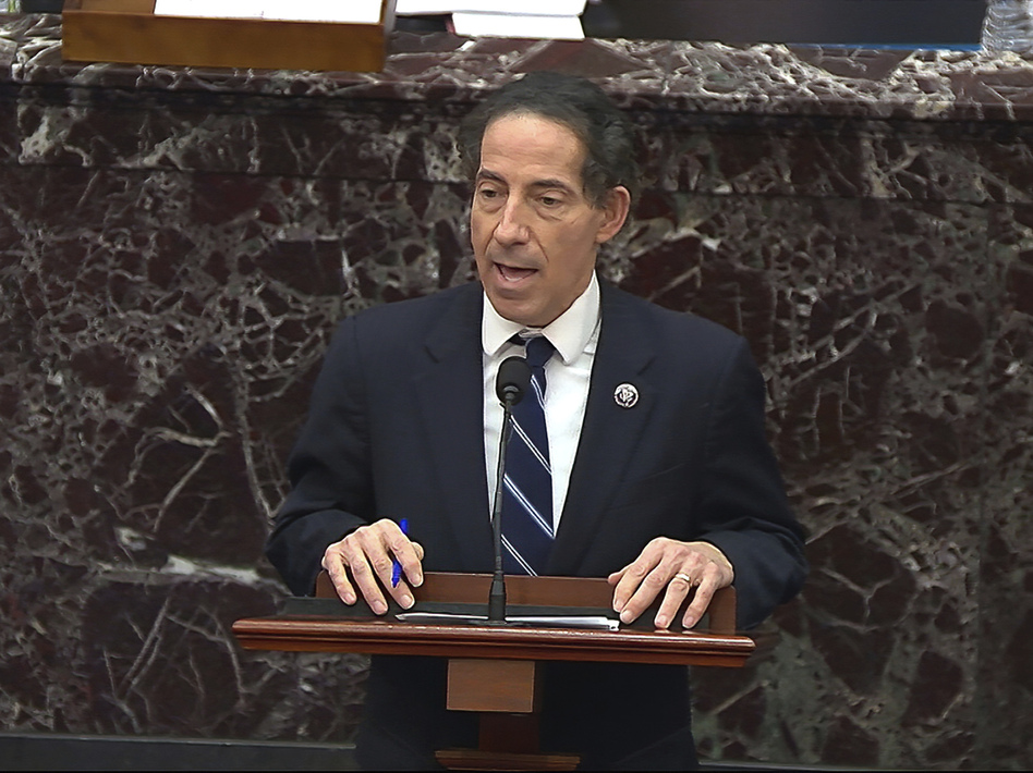 In this image from video, House impeachment manager Rep. Jamie Raskin, D-Md., speaks during the second impeachment trial of former President Donald Trump and says he would like to subpoena Rep. Jaime Herrera Beutler. (AP)