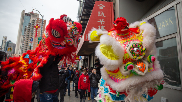 The Chinatown Community Young Lions perform lion dancing at the Lunar New Year Celebration in Manhattan