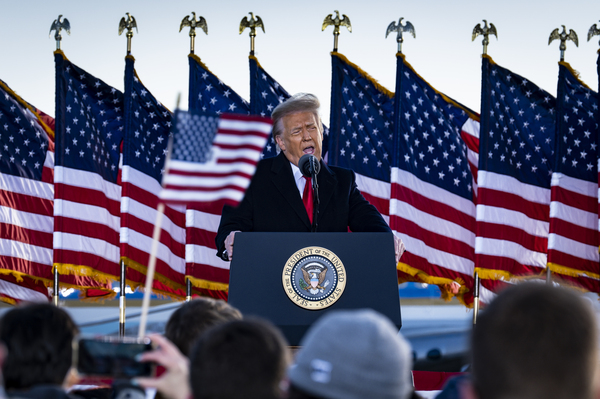 Former President Donald Trump, seen here speaking to supporters on Jan. 20, attacked Senate Minority Leader Mitch McConnell in a statement Tuesday evening.