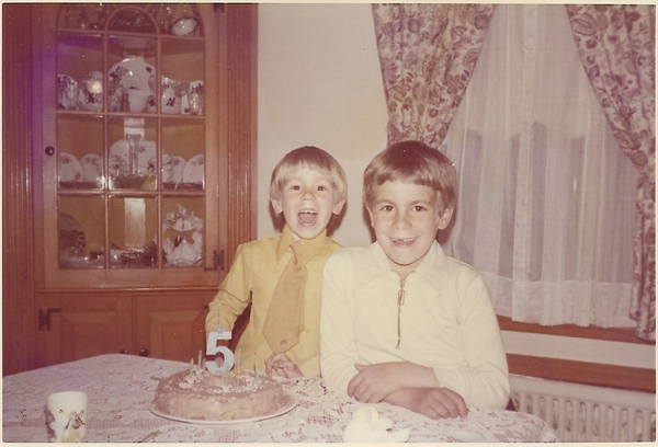 """Danny Volce (left) on his fifth birthday with brother Jay Volce, in 1973. Danny was 52 when he died on Feb. 6, 2021. """"To get so far into this and then to lose him here at this point... it feels especially hard,"""" says his sister Lori Baron."""