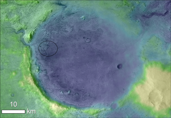 Lighter colors represent higher elevation in this image of Jezero crater on Mars, the landing site for NASA's Mars 2020 mission. The circle represents where the Perseverance rover was expected to land.