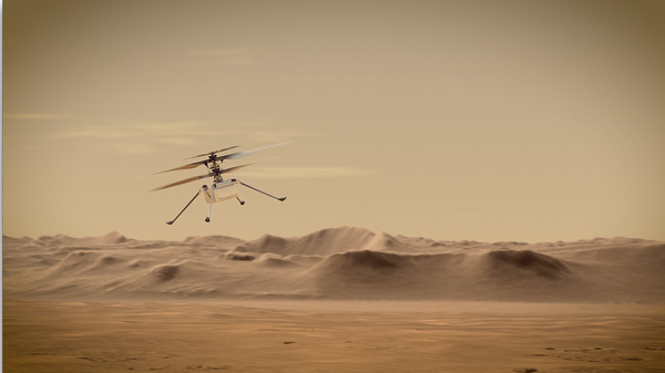 An artist's rendering of NASA's Ingenuity Mars Helicopter flying above the surface of the red planet.