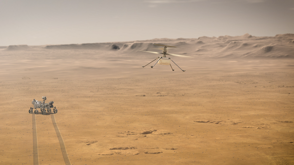 NASA's Perseverance rover and its experimental aerial drone, the Ingenuity Mars Helicopter, are shown in an artist's rendering.