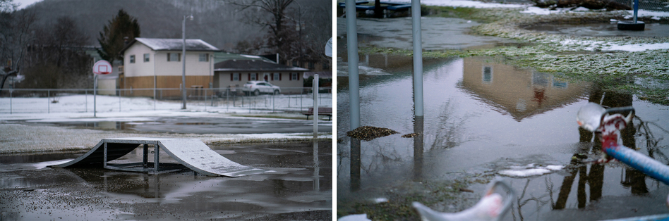 "Before the flood, Aaron Trigg says, there were baseball games and kids playing on the playground near his house in Rainelle. After the flood, that changed. ""Now, it was just silence,"" he remembers. ""It affected the spirit of the town."" (Ryan Kellman/NPR)"