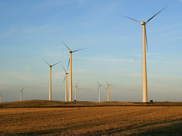 A windfarm near Velva, North Dakota. Two counties in the state have enacted drastic restrictions on new wind projects in an attempt to save coal mining jobs, despite protests from landowners who'd like to rent their land to wind energy companies.