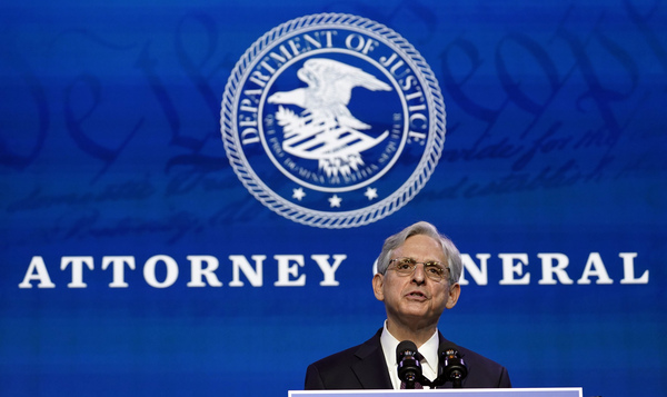 Merrick Garland, President Biden's nominee for U.S. attorney general, speaks in Wilmington, Del., on Jan. 7.