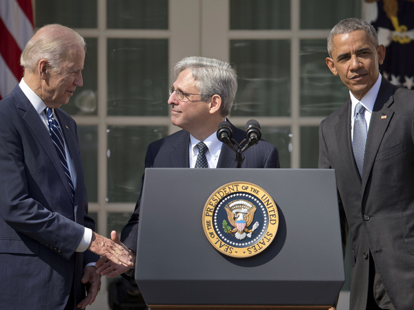 In 2016, Judge Merrick Garland was President Barack Obama's nominee to the Supreme Court. Five years later, he is President Biden's pick to lead the Department of Justice. Above, Garland stands with Obama and Biden in the Rose Garden after being introduced as Obama's nominee.