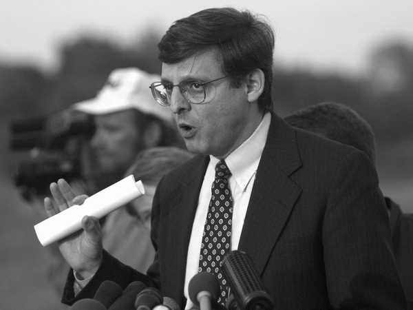 "In this April 27, 1995, photo, Merrick Garland speaks to the media following a hearing for Oklahoma City bomber Timothy McVeigh. Garland was assigned to the case because ""we wanted somebody who could make sure that the investigation was done by the book and that any indictment was bulletproof,"" said former Deputy Attorney General Jamie Gorelick."