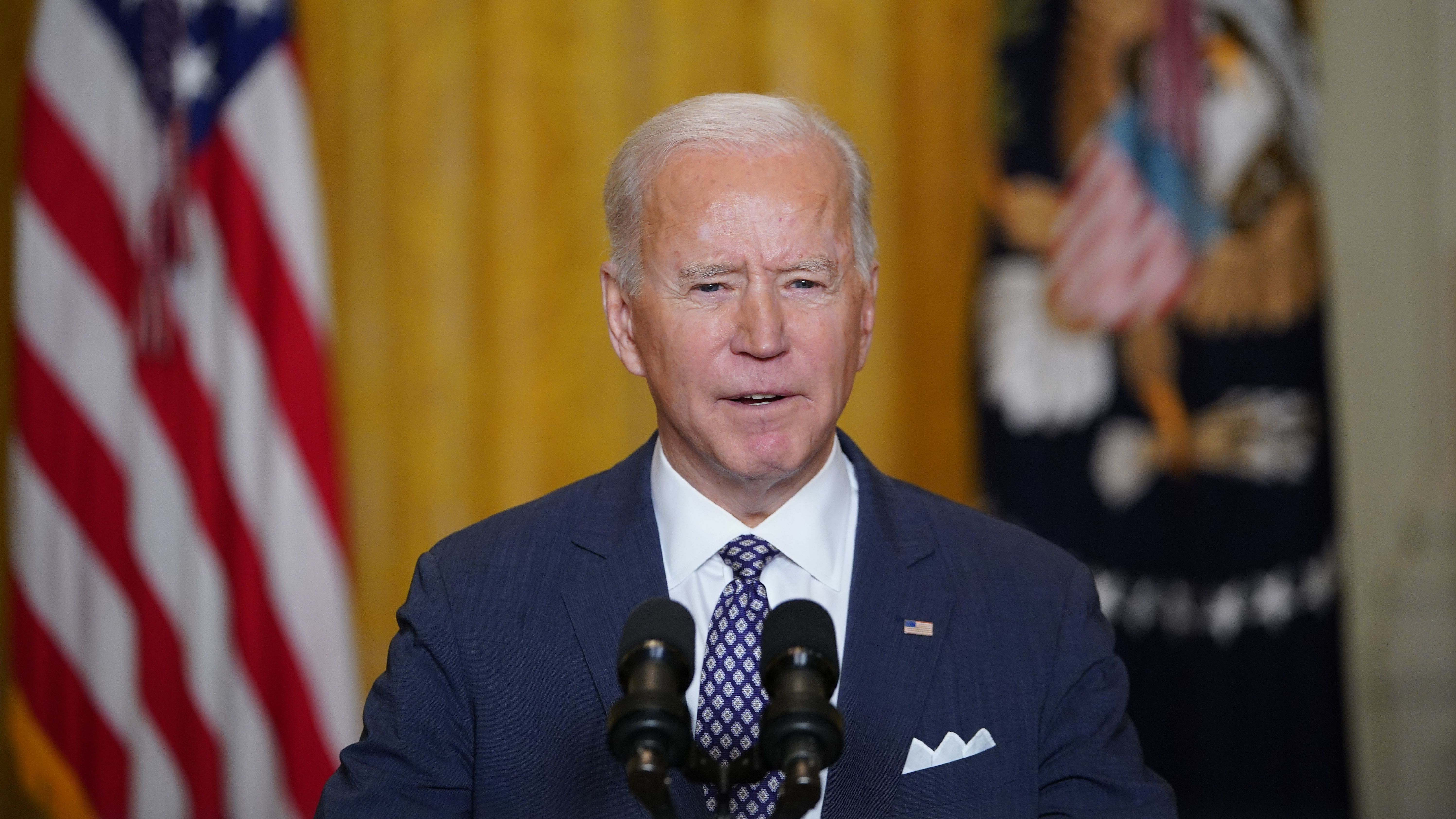 President Biden speaks from the East Room of the White House to virtually address the Munich Security Conference in Germany on Friday.