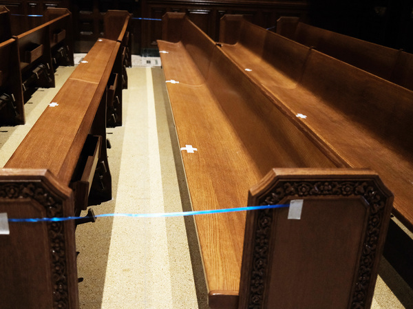 Empty pews are marked for spacing in a Manhattan church on Nov. 27, 2020 in New York City.